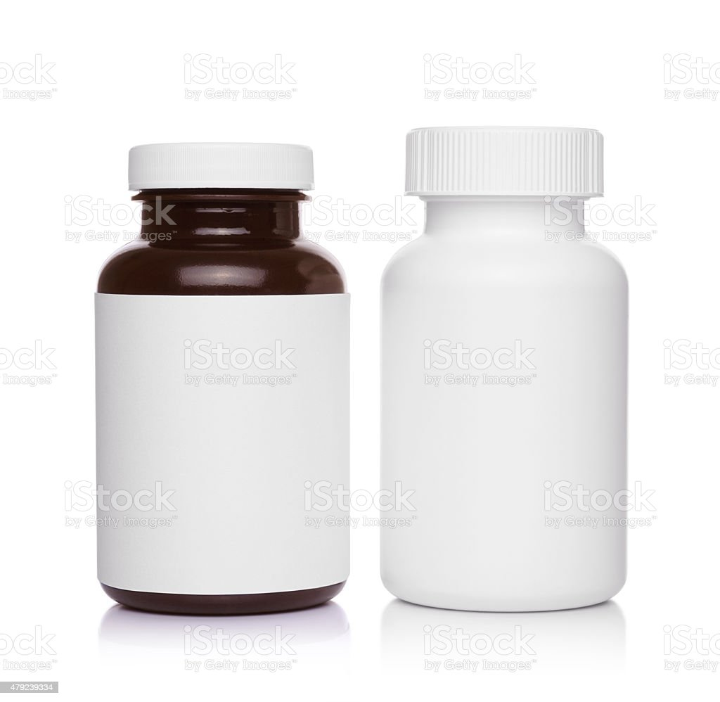 plastic medical containers for pills stock photo