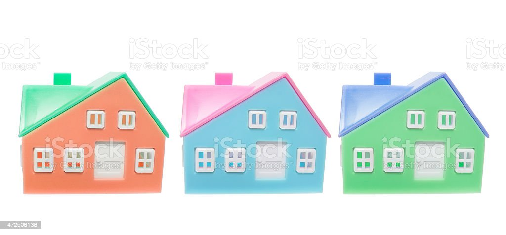 Plastic Miniature Houses stock photo