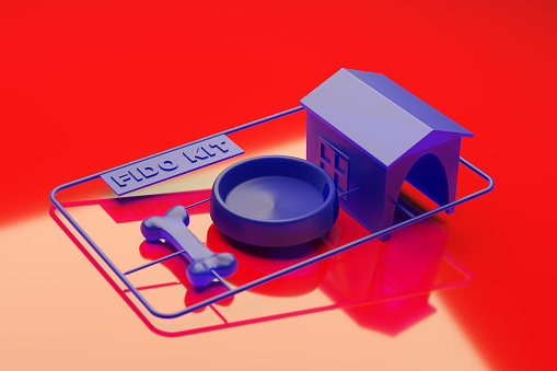 Plastic model kit for what you need for a dog: bone, bowl, house