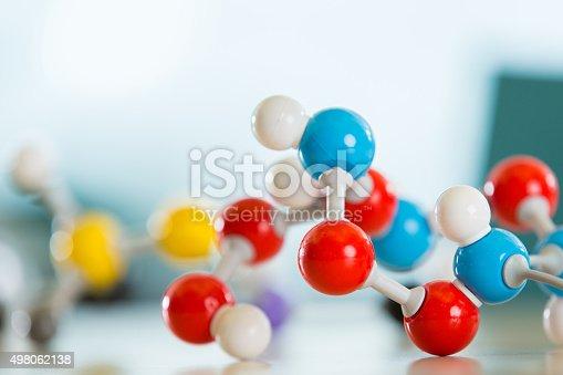 istock Plastic molecule educational model toy sitting on desk 498062138