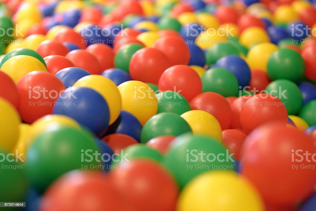 Multicolored background with plastic balls in children\'s play pool.