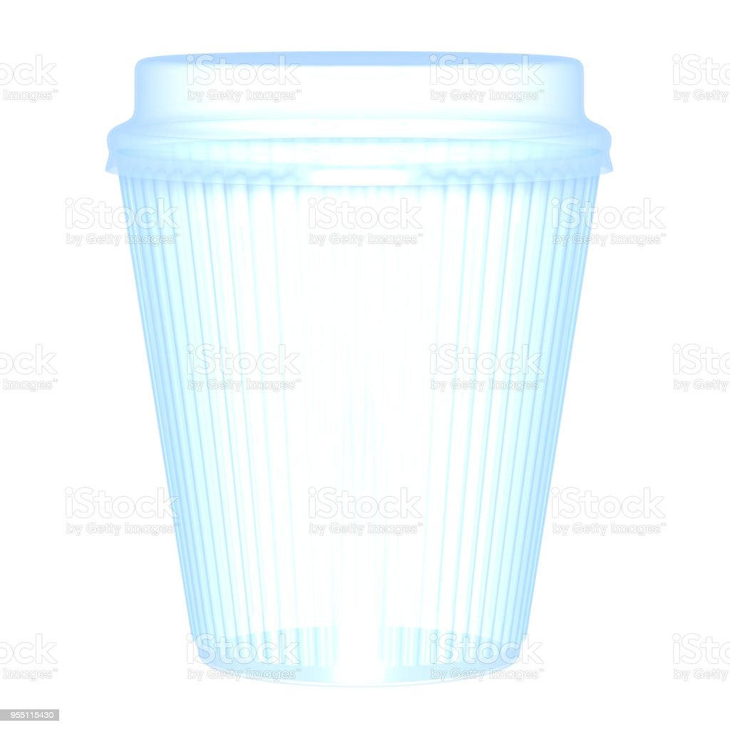 Plastic or paper corrugated  glass and cap 3D illustration stock photo