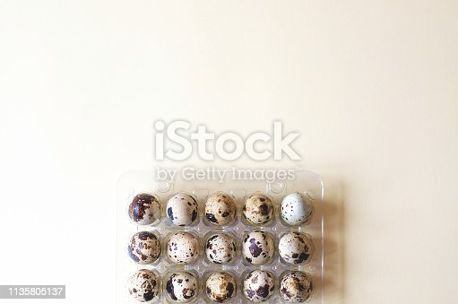1147995495 istock photo Plastic packaging with quail eggs on a yellow background. 1135805137