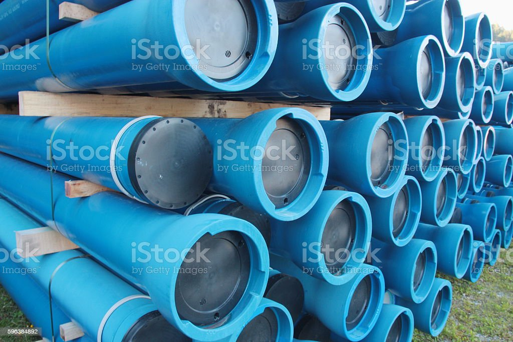 PVC plastic pipes for underground water supply and sewer lines stock photo