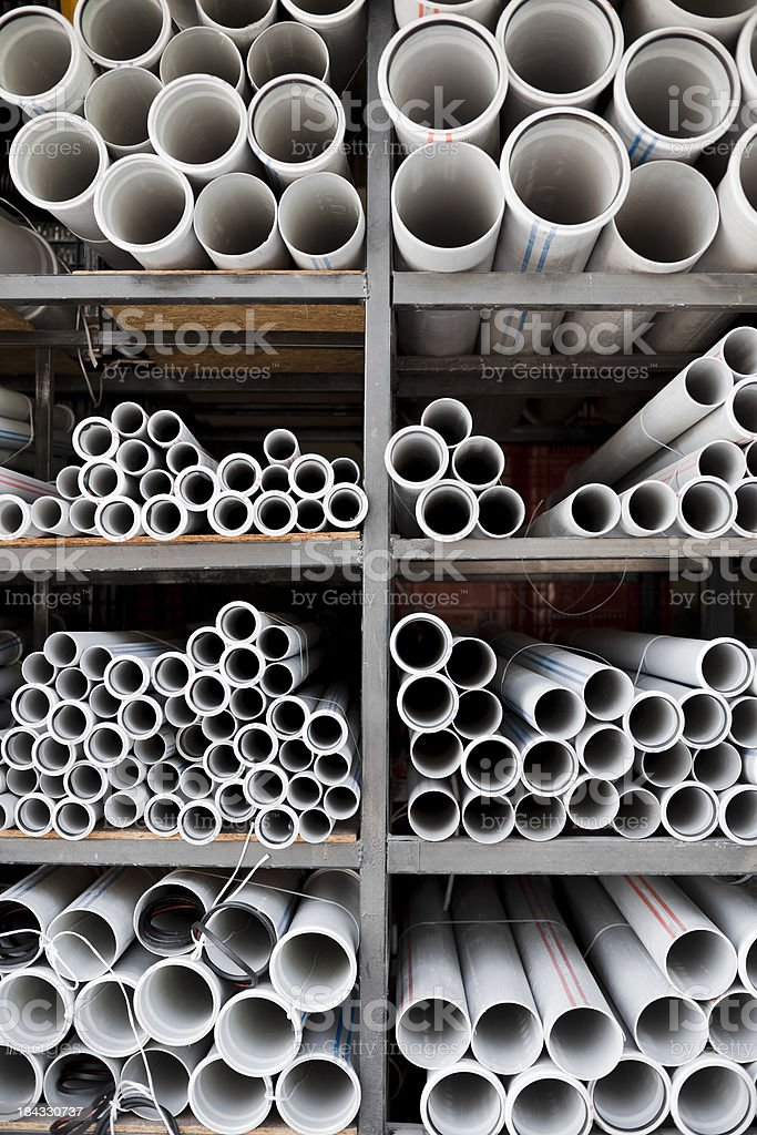 Plastic pipes stock photo