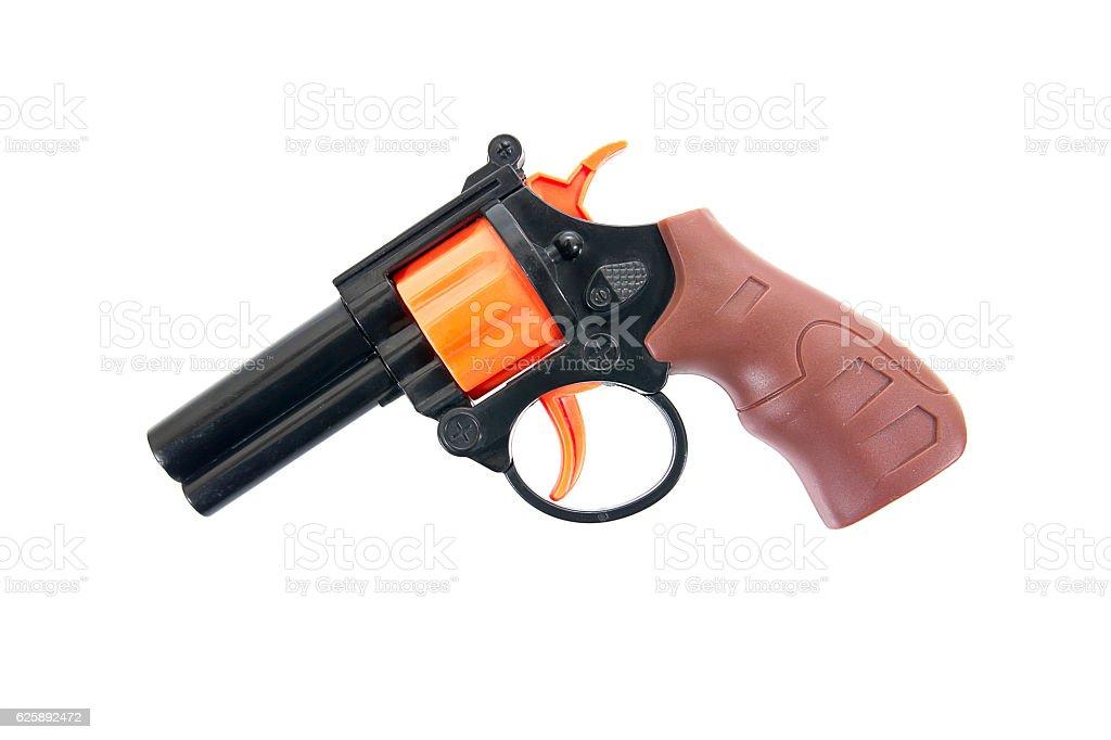 Plastic pistol toy isolated on white background.Kids revolver stock photo