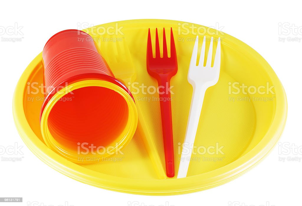 plastic plates and forks royalty-free stock photo