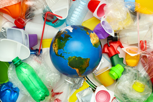 Global environmental pollution by plastic. Recycling concept