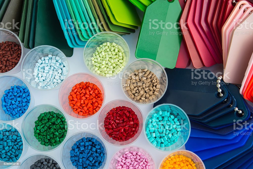 plastic polymer granulate stock photo