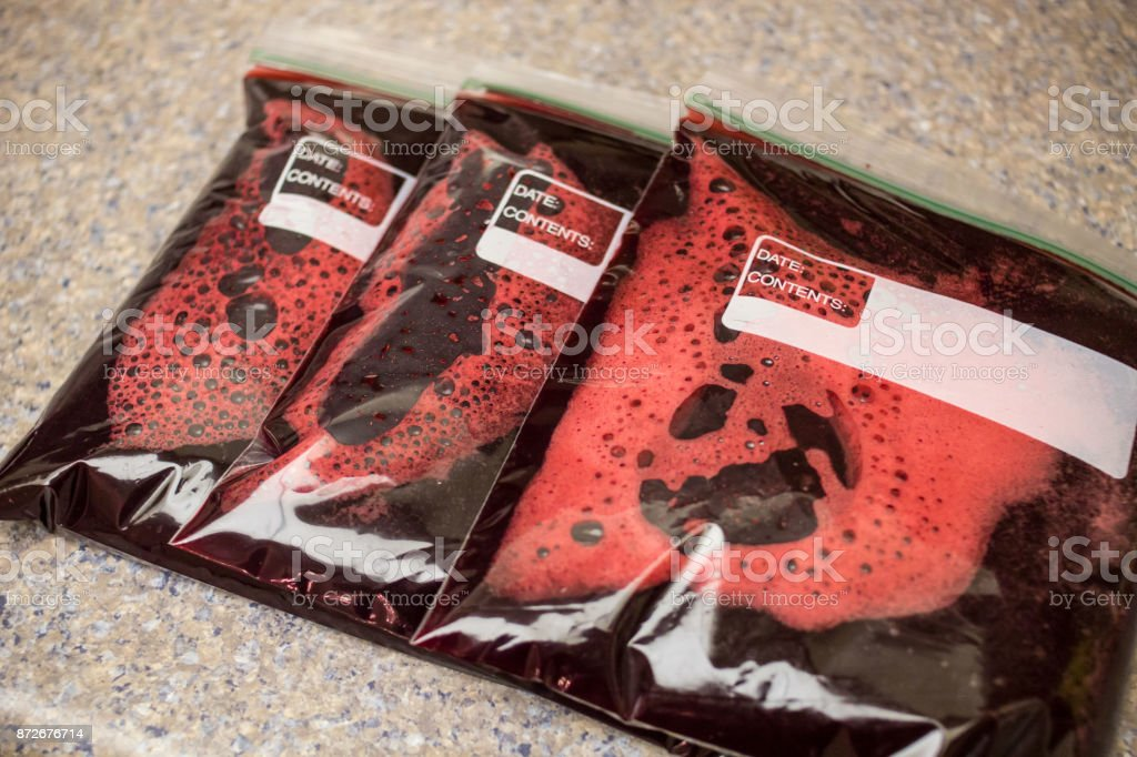 Plastic Pouches Filled With Red Fluid stock photo