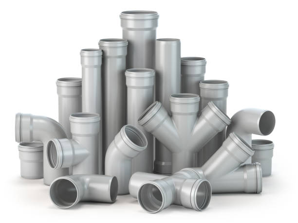 Plastic pvc pipes  isolated on the white background. Plastic pvc pipes  isolated on the white background. 3d illustration pvc stock pictures, royalty-free photos & images