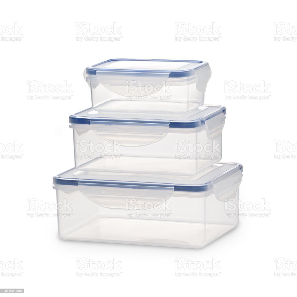 Plastic rectangular airtight containers for food isolated on white background stock photo