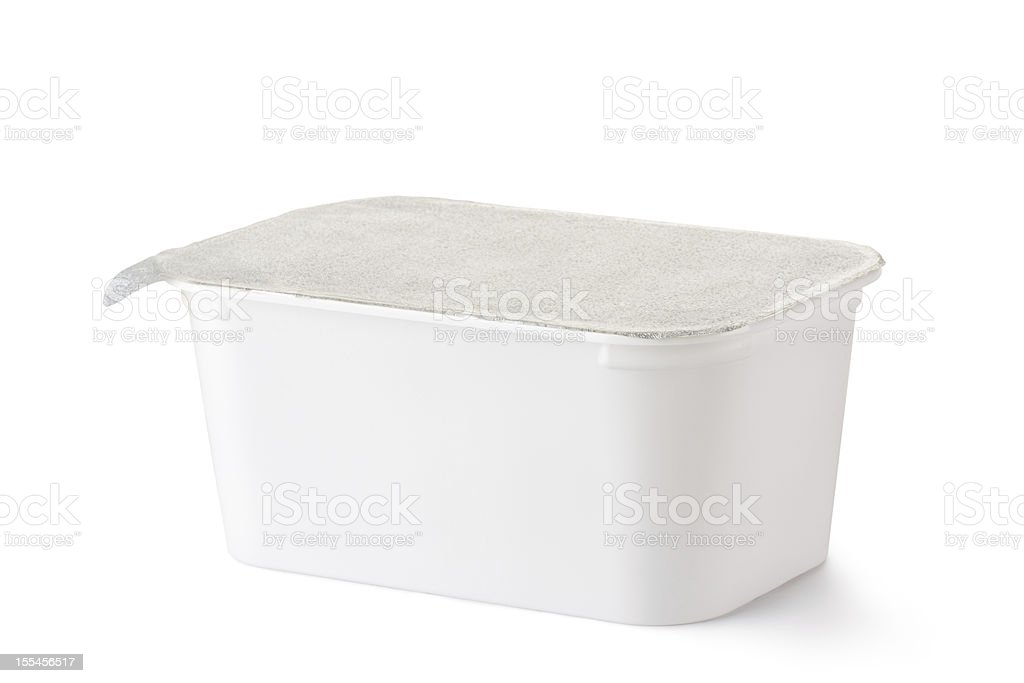 Plastic rectangular container with foil lid royalty-free stock photo