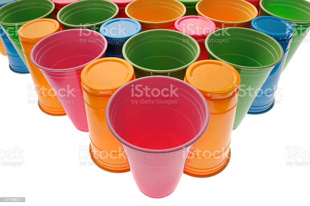 Plastic Recyclable Drinking Cups royalty-free stock photo