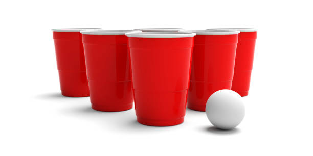 plastic red color cups and a ping pong ball isolated on white background. 3d illustration - beirut foto e immagini stock