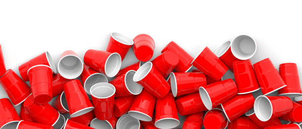Plastic red color disposable cups pile on white background, banner. 3d illustration Plastic red white color disposable cups pile on white background, banner, copy space. 3d illustration disposable cup stock pictures, royalty-free photos & images