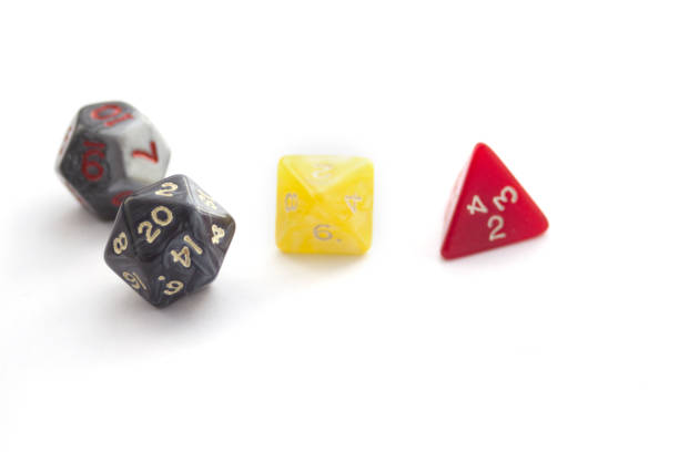 Plastic RPG dices isolated on white stock photo