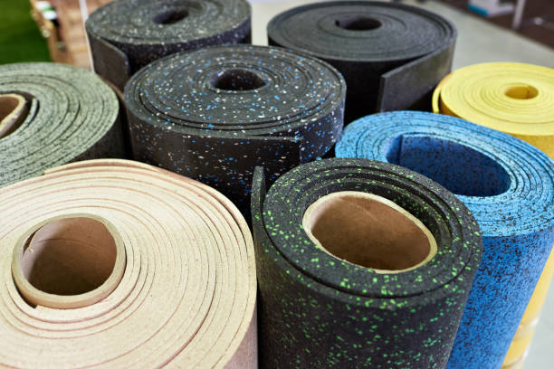 plastic rubber floor coverings for sport gym - rubber stock photos and pictures