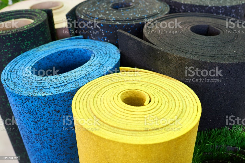 Plastic rubber floor coverings for sport gym stock photo