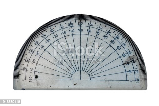 1060723604istockphoto plastic rule. protractor ruler on white background. protractor triangle. 948830118