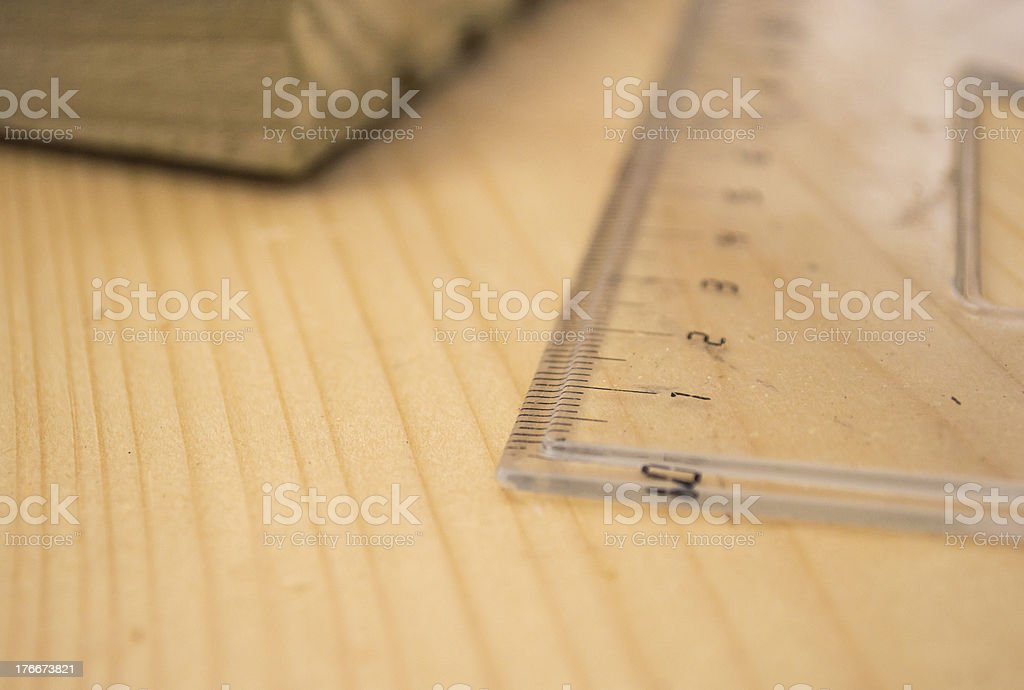 Plastic Ruler Used to Measure Wood for Construction royalty-free stock photo