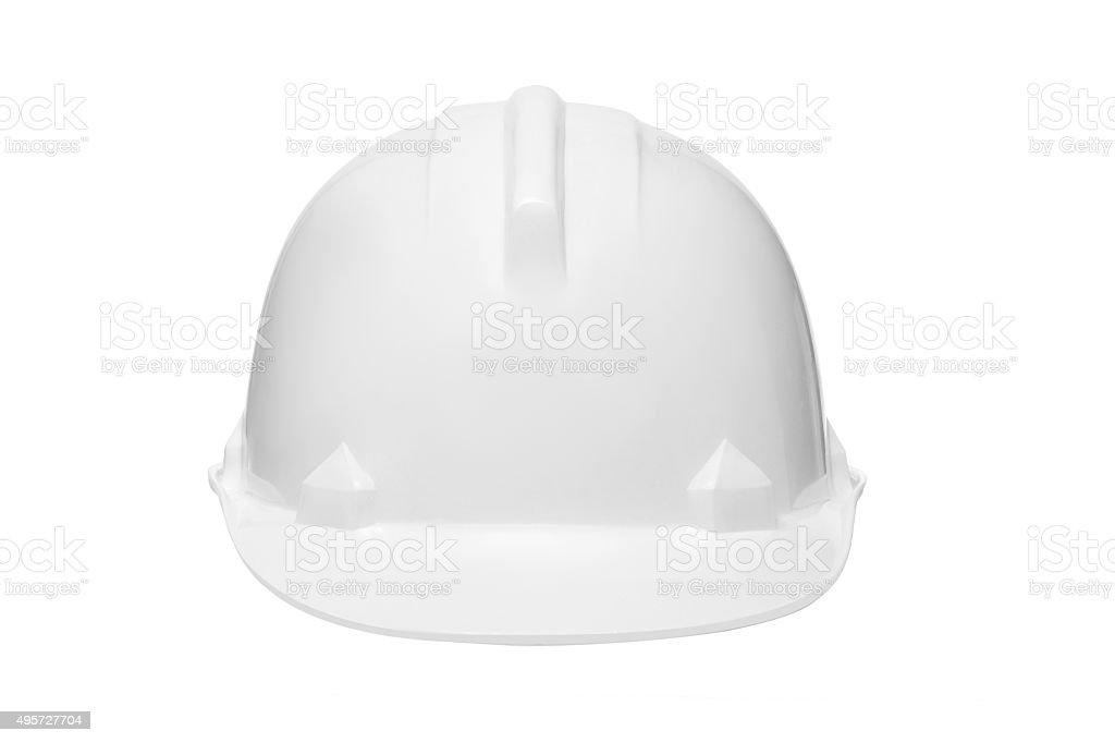 Plastic safety helmet isolated on white. stock photo