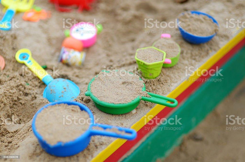 Plastic sandbox toys stock photo