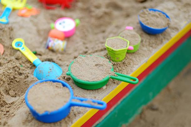plastic sandbox toys - preschool building stock photos and pictures