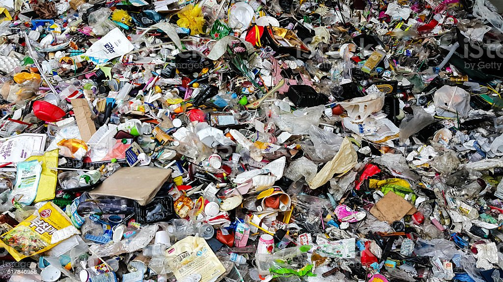 Plastic scrap in recycling center stock photo