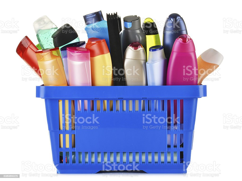 Plastic shopping basket with body care and beauty products stock photo