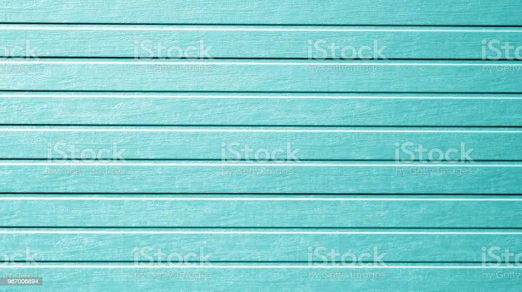 Plastic siding wall texture in cyan color. stock photo
