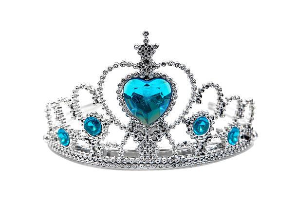 plastic silver tiara toy isolated on white background.toy crown isolated - prinzessin tiara stock-fotos und bilder