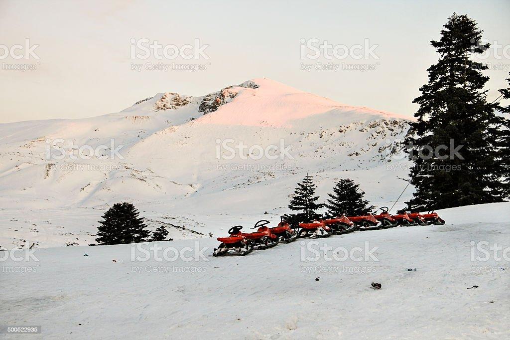 plastic sled stock photo