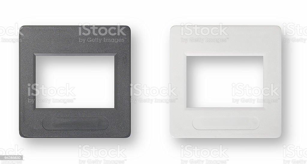 Plastic slide frames isolated on white royalty-free stock photo