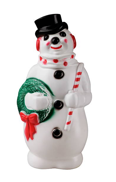 Plastic Snowman with Top Hat stock photo