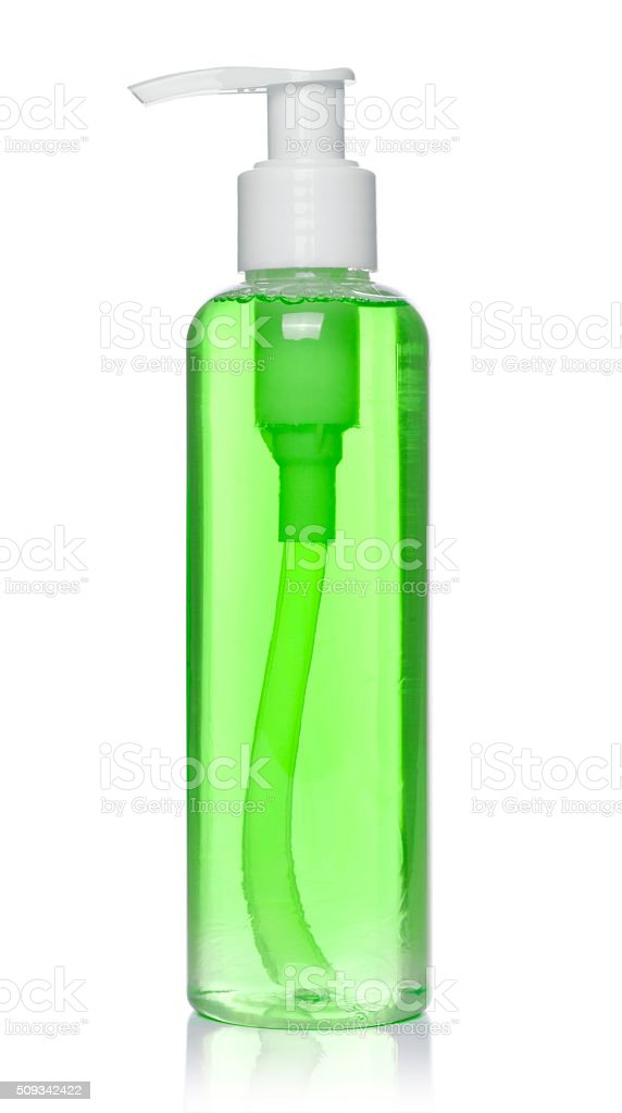 plastic soap bottle on white stock photo