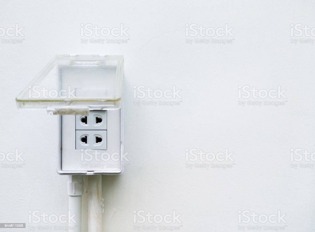 Plastic socket with the clear cover. stock photo