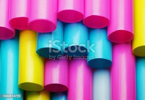 Colourful plastic straws.