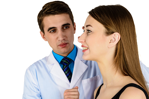 istock Plastic surgery doctor, patient inspection and consultation 1127578430