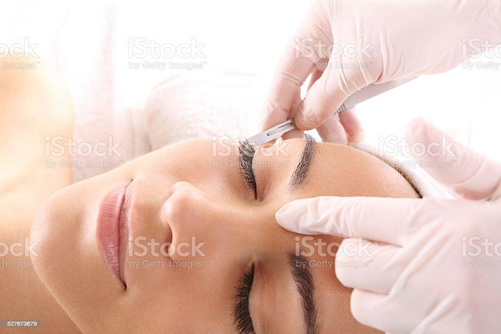 Plastic surgery wrinkle reduction stock photo