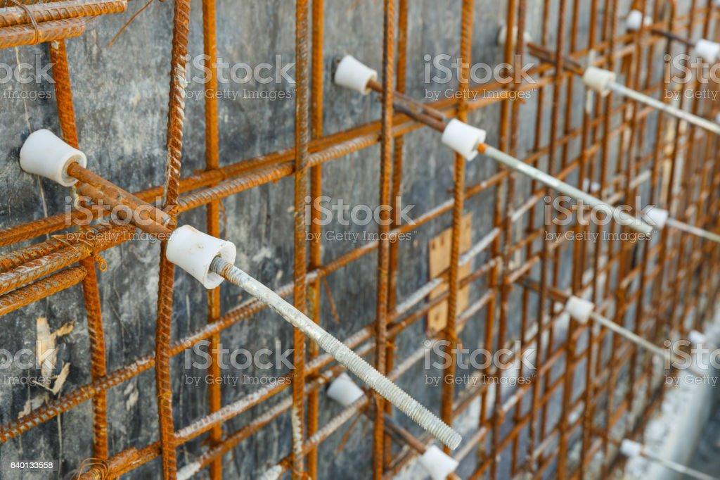 Plastic tie rod cone for concrete wall formwork stock photo