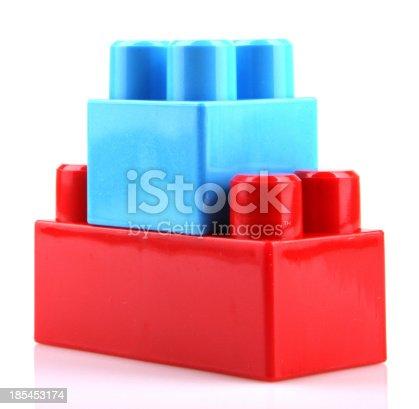 865870702 istock photo Plastic Toy Blocks On White Background 185453174