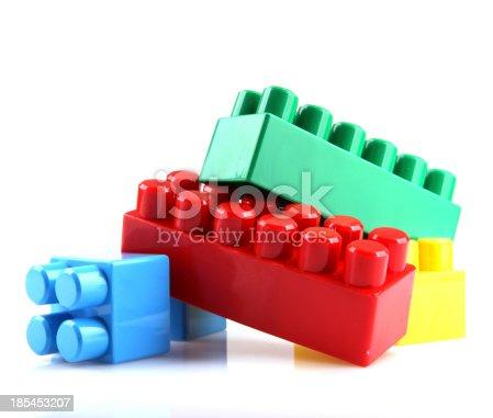 865870702 istock photo Plastic Toy Blocks On White Background 185453207