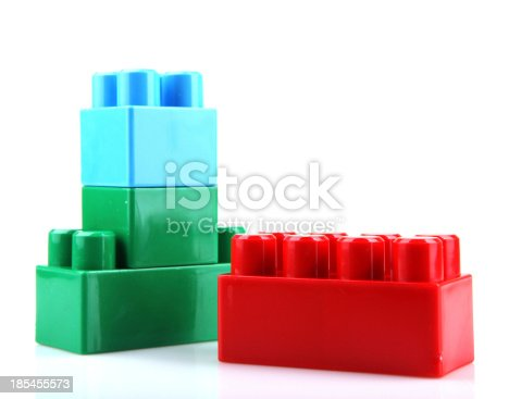 865870702 istock photo Plastic Toy Blocks On White Background 185455573