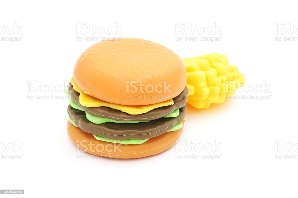 plastic toy hamburger  and french fried stock photo