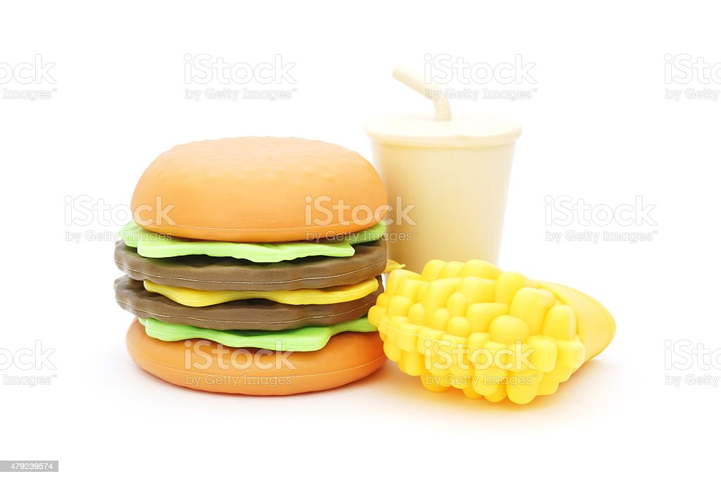 plastic toy hamburger with cool drink  and french fried stock photo