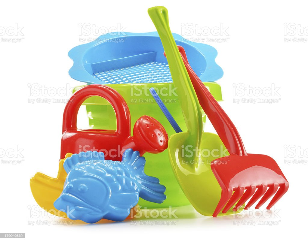 Plastic toys for playing in sandpit and on the beach royalty-free stock photo