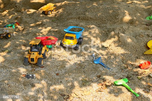 147878016 istock photo Plastic toys vehicle model for kids on sand playground 499727762