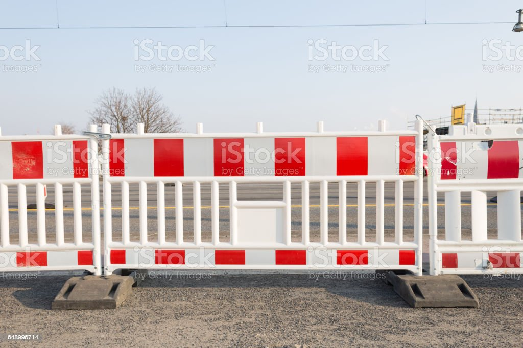 Plastic Traffic Barrier on Road Construction stock photo