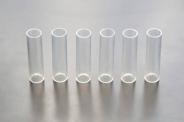 plastic transparent tubes for different industries stock photo